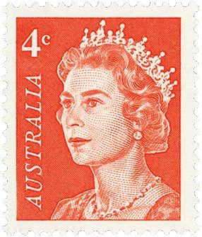 4 cent stamp featuring the head of the Queen on a red background