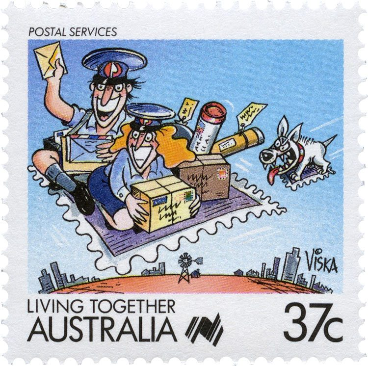 37 cent stamp featuring two postmen on a flying carpet-stamp and loaded up with parcels. Trailing behind is a grinning white dog on his own flying carpet-stamp.