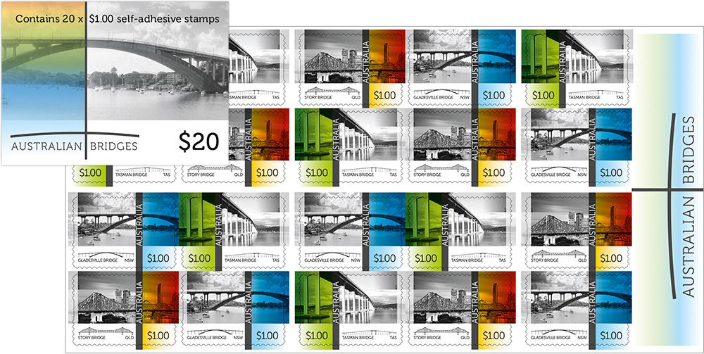2016 Bridges stamp issue, booklet of 20 self-adhesive stamps