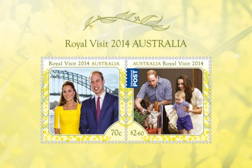 2014 Royal Visit minisheet showing Prince Willliam and Catherine